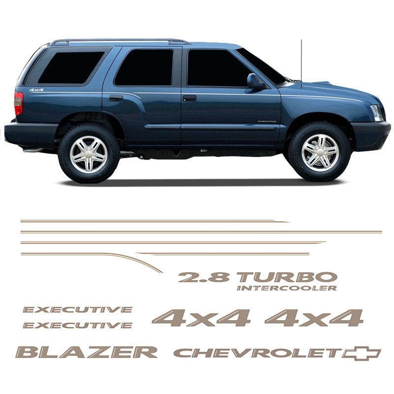 Kit Faixa Blazer Executive 2007/08 4x4 2.8 Adesivo Champanhe
