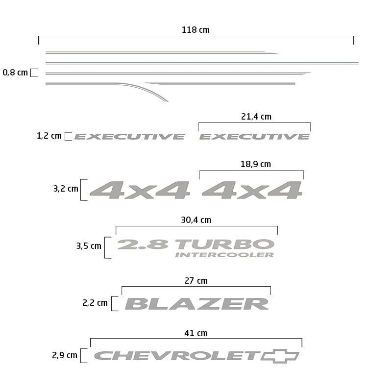 Kit Faixa Blazer Executive 2007/2008 4x4 2.8 Adesivo Prata