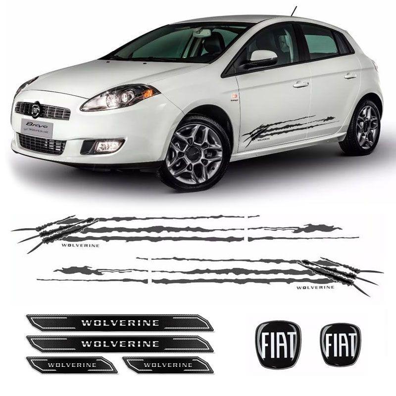 Kit Faixa Bravo Wolverine Grafite + Soleira + Emblemas Fiat
