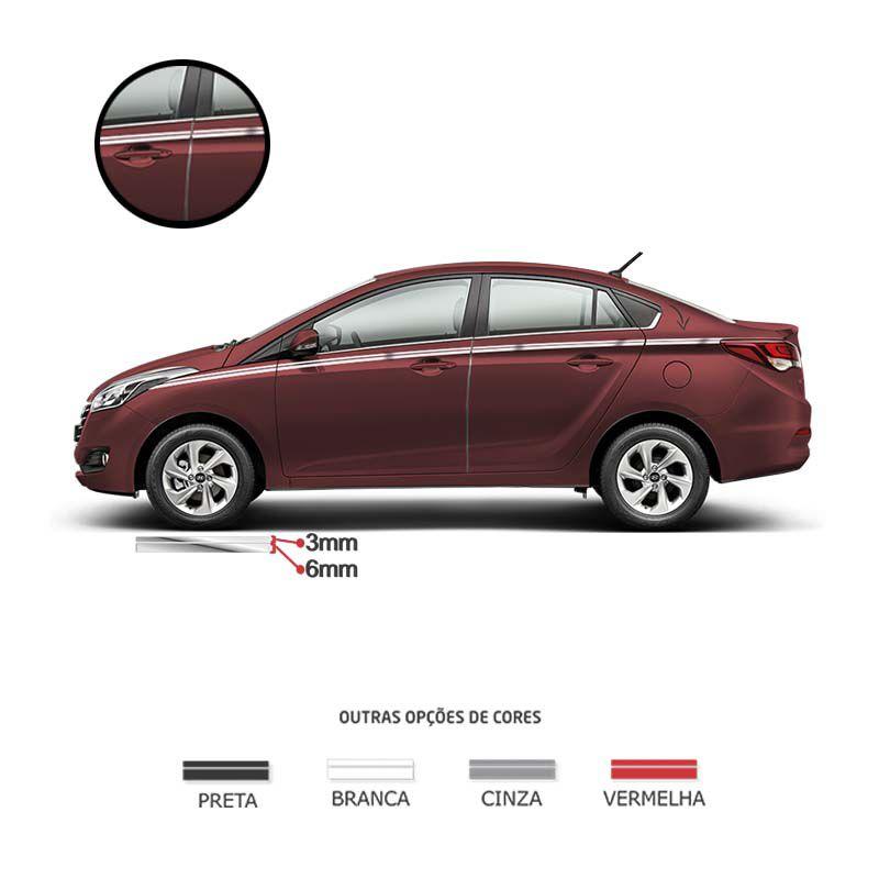 Kit Faixa Dupla Decorativa Cromado Adesivo Universal Carro
