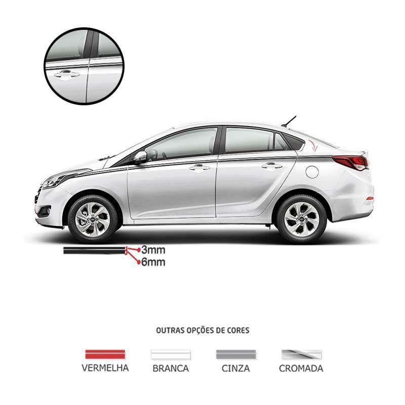 Kit Faixa Dupla Decorativa Preto 10m Adesivo Universal Carro
