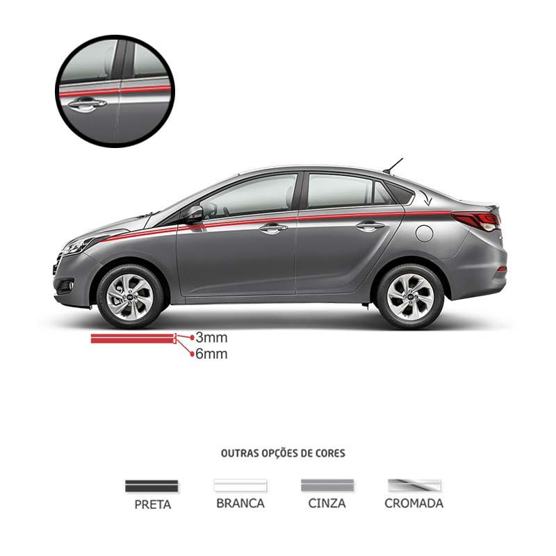 Kit Faixa Dupla Decorativa Vermelho Adesivo Universal Carro