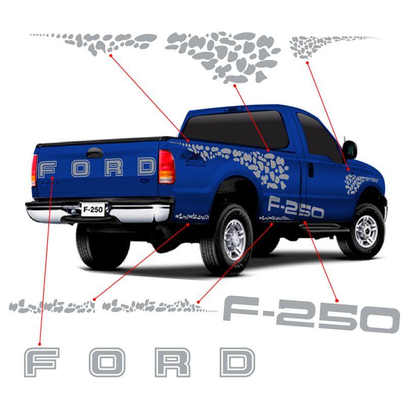 Kit Faixa Ford F-250 04/10 Adesivo Lateral E Traseiro Prata