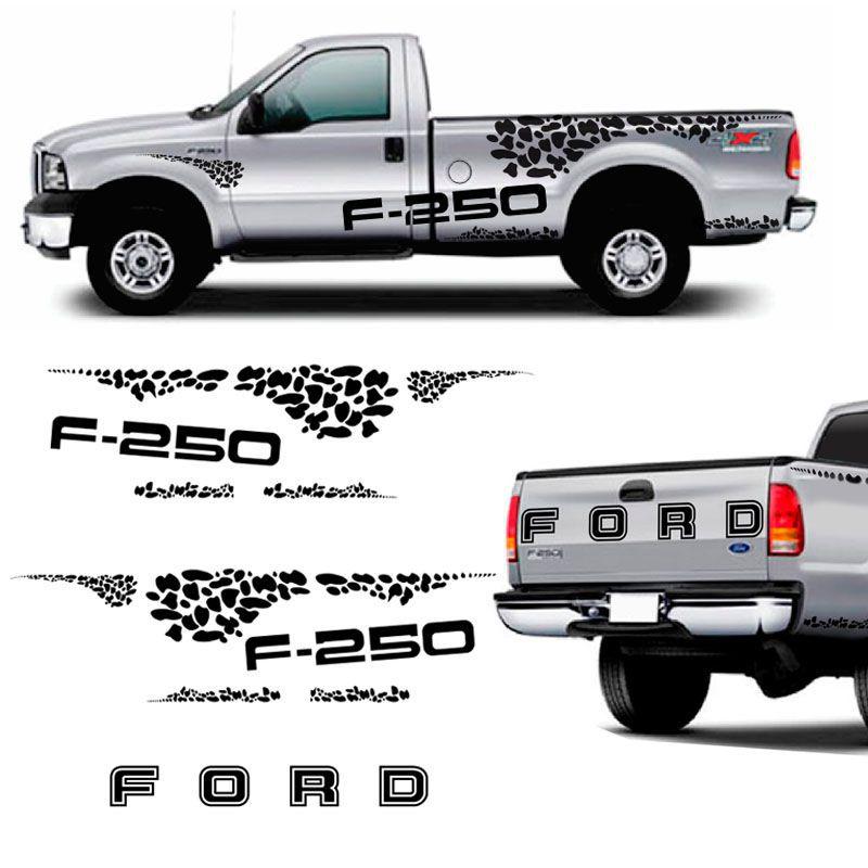 Kit Faixa Ford F-250 04/10 Adesivo Lateral E Traseiro Preto
