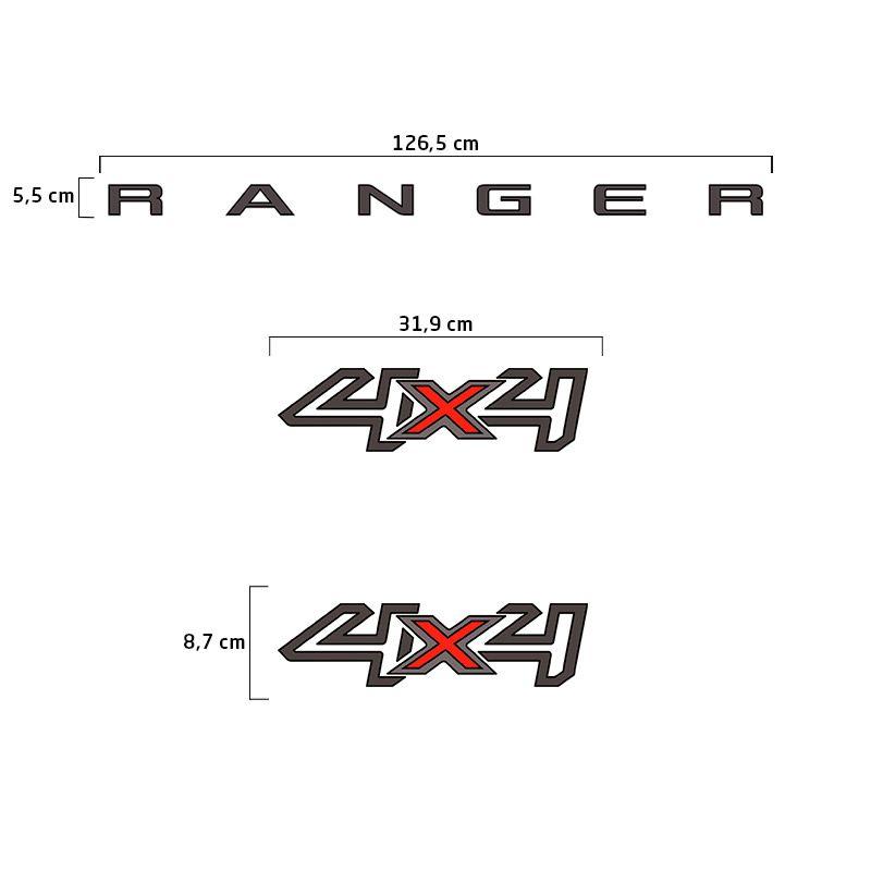 Kit Faixa Ford Ranger 2017/2018 4x4 Adesivo Grafite/Preto