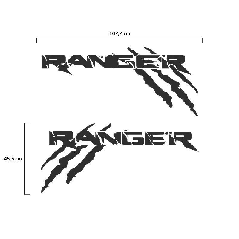 Kit Faixa Ford Ranger Garras 13/19 Adesivo Lateral Grafite