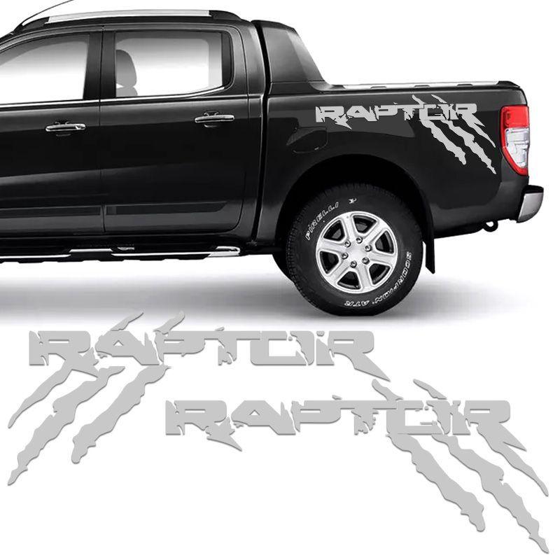 Kit Faixa Ford Ranger Raptor 2013/19 Adesivo Lateral Prata