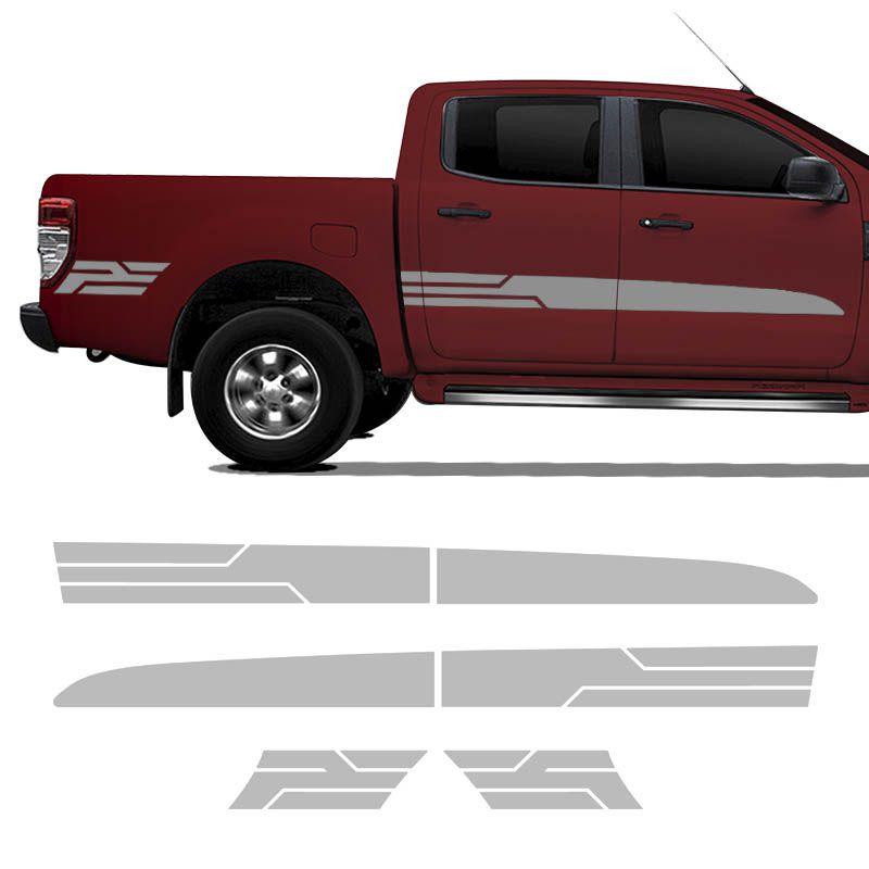 Kit Faixa Ford Ranger Sport 2014/2019 Adesivo Prata Cabine Dupla