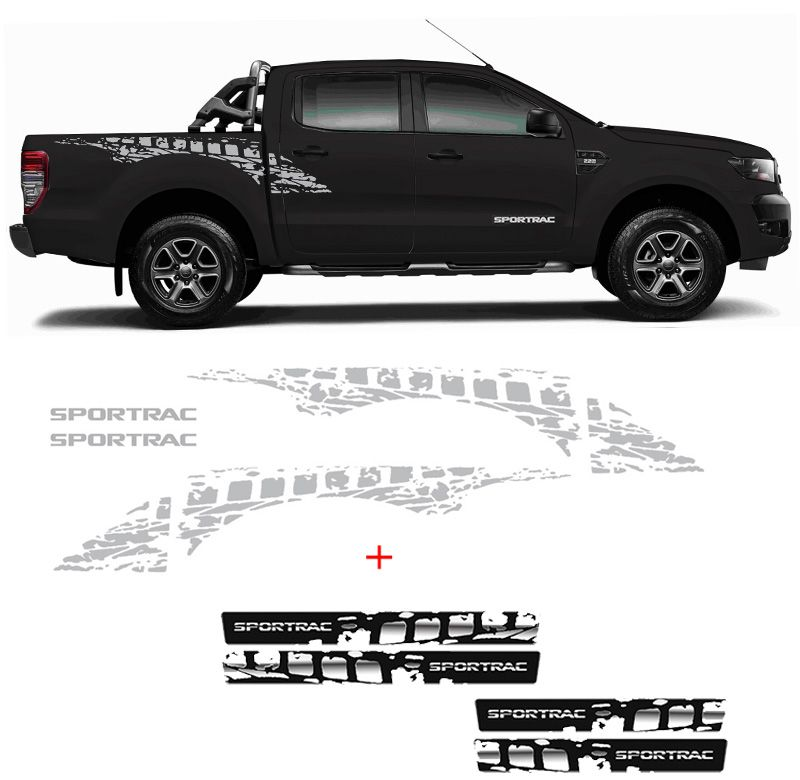 Kit Faixa Ford Ranger Sportrac 18 Prata + Soleira Black Over