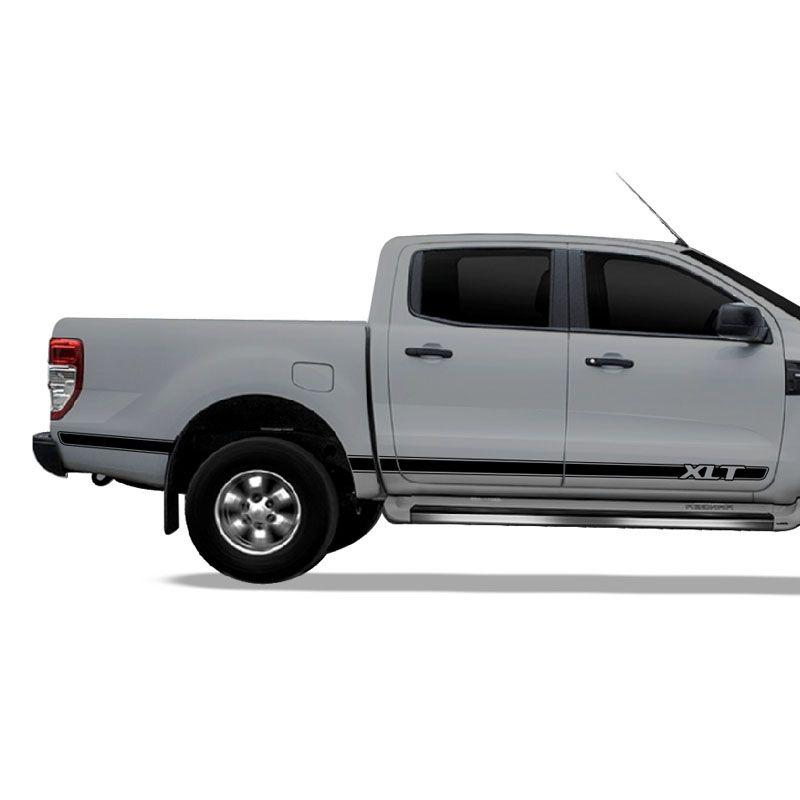 Kit Faixa Ford Ranger XLT Adesivo Lateral Preta Decorativo