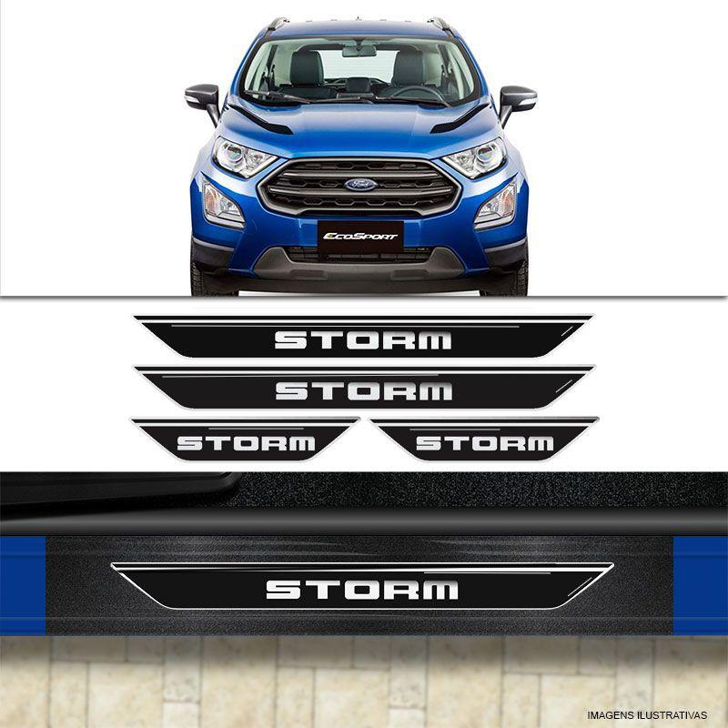 Kit Faixa Lateral Ecosport Storm + Soleira Com Black Over