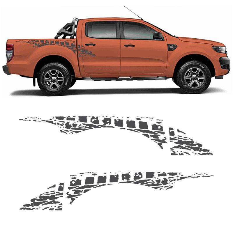 Kit Faixa Lateral Ford Ranger Sportrac 18 + Emblema Grafite