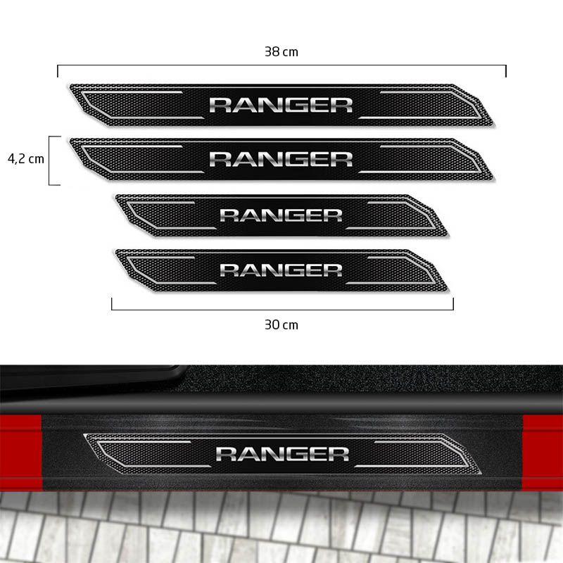 Kit Faixa Lateral Prata Ranger 2013/2019 + Soleira Protetora