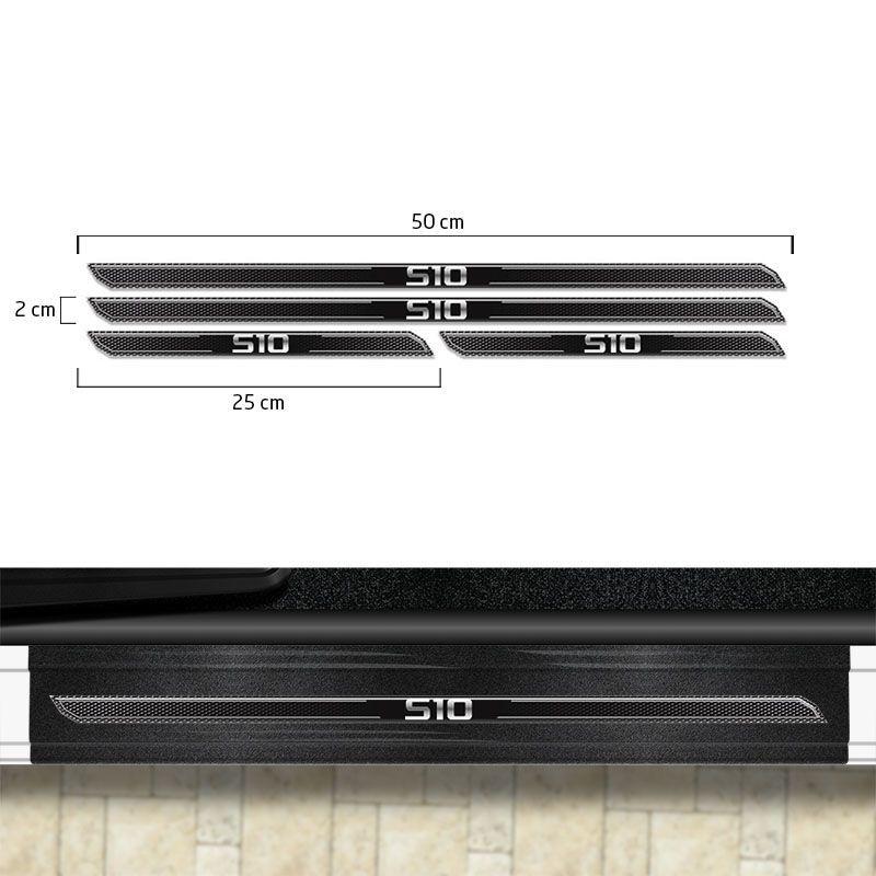 Kit Faixa Lateral Preto S10 2013/19 4x4 + Soleira Protetora