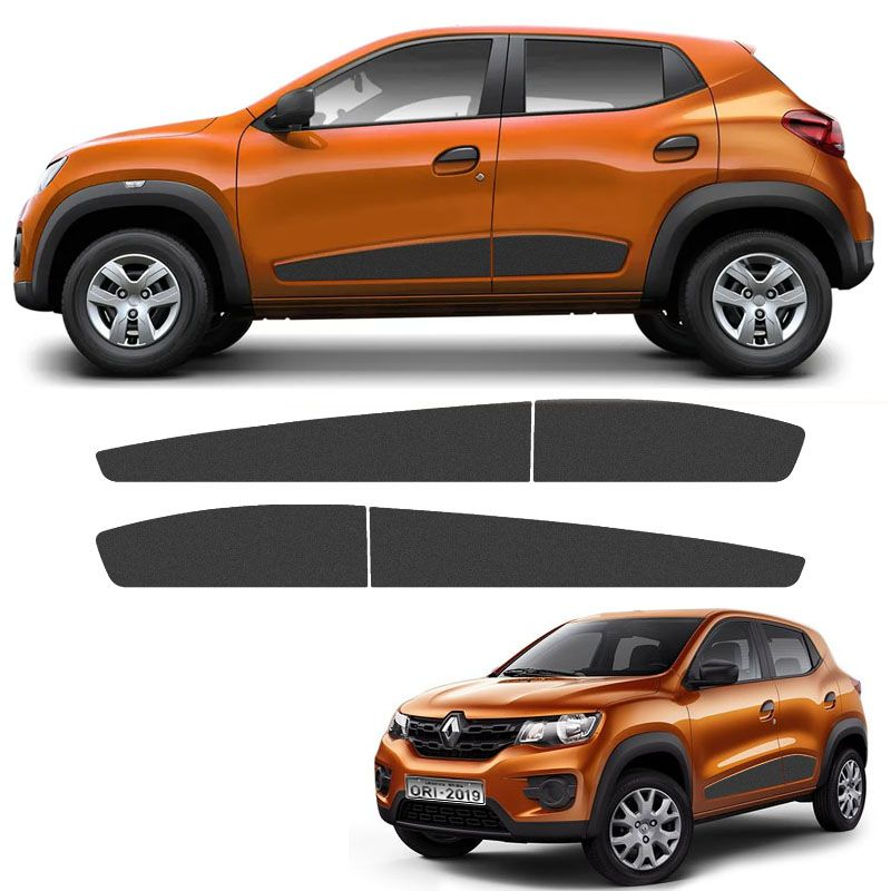 Kit Faixa Lateral Renault Kwid 2018/2019 Adesivo Grafite