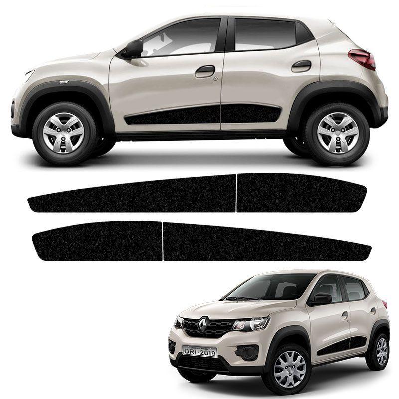 Kit Faixa Lateral Renault Kwid 2018/2019 Adesivo Preto