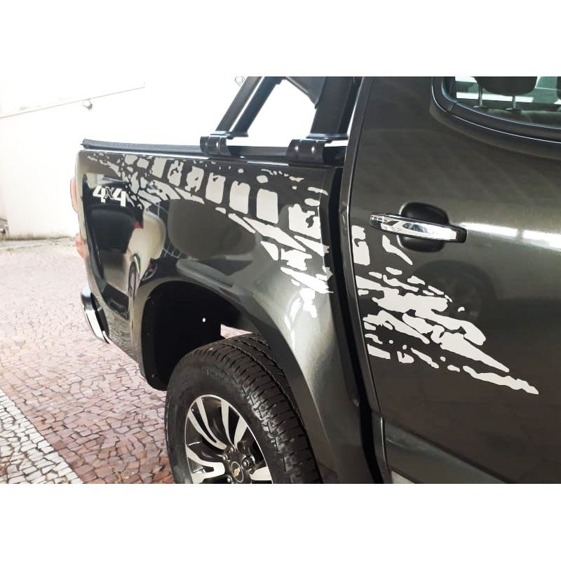 Kit Faixa Lateral S10 2013/2019 Adesivo Sport Prata Tuning