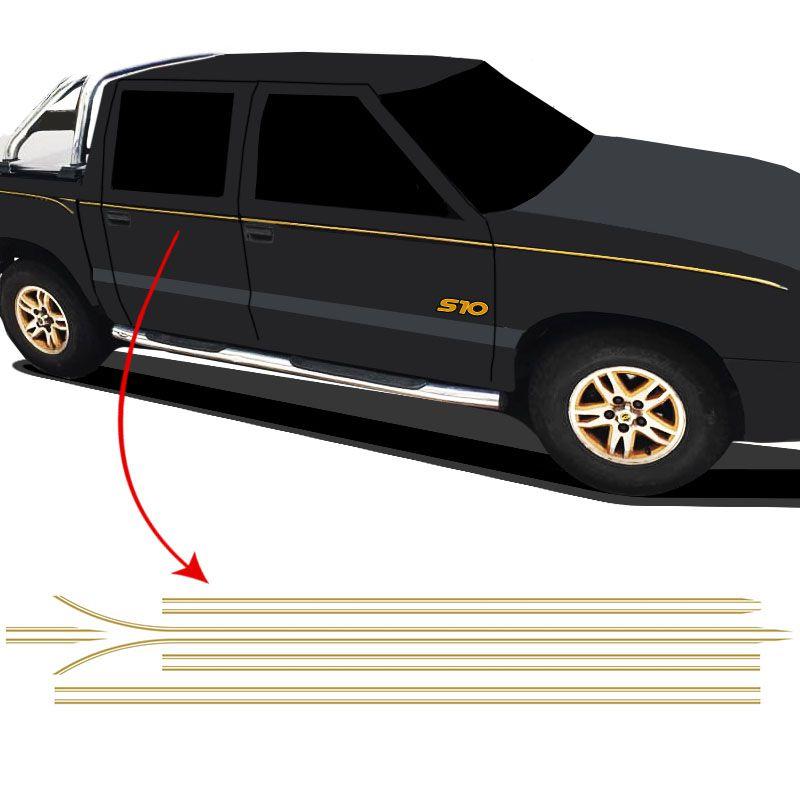 Kit Faixa Lateral S10 Executive 2001/2002 Cab Dupla Dourado