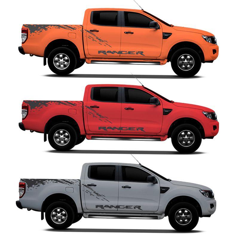 Kit Faixa Nova Ford Ranger 2013/2019 Adesivo Lateral Grafite