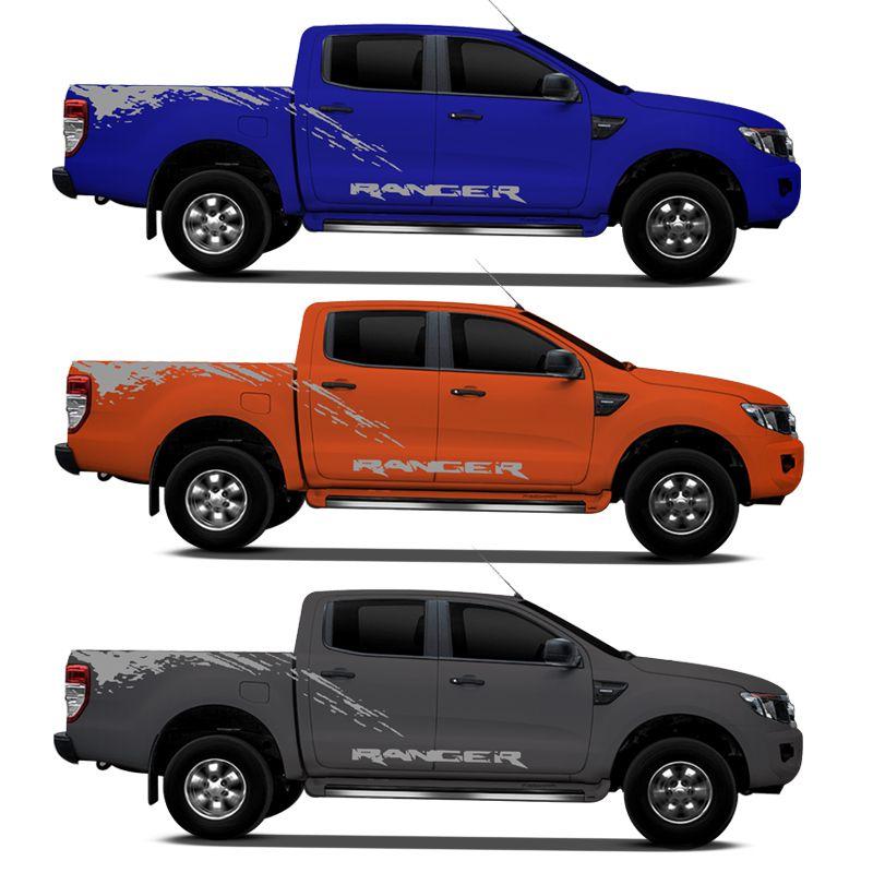 Kit Faixa Nova Ford Ranger 2013/2019 Adesivo Lateral Prata
