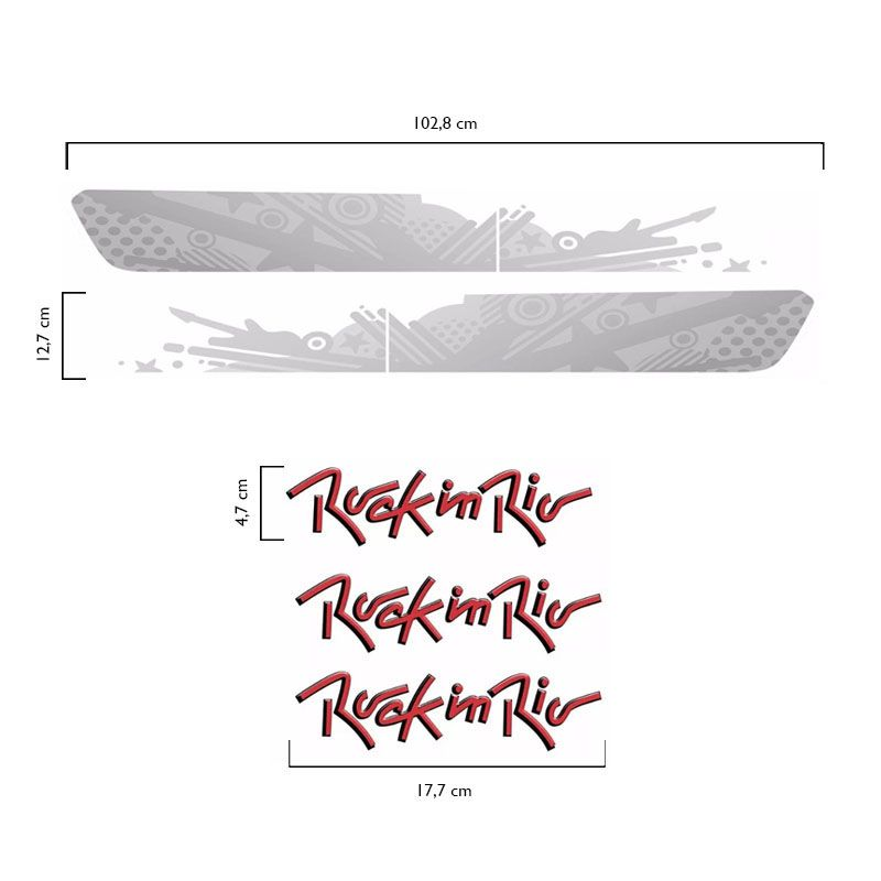 Kit Faixa Prata Gol Saveiro Fox Rock In Rio 2015 + Emblemas