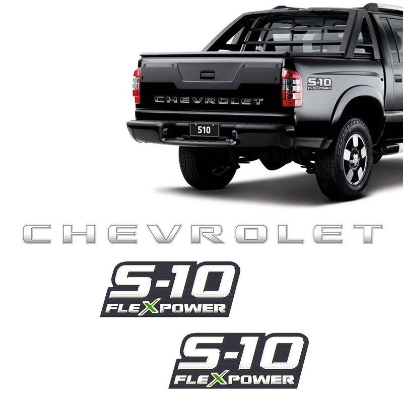 Kit Faixa Prata S10 Chevrolet 2009/2011 + Flex Power Verde