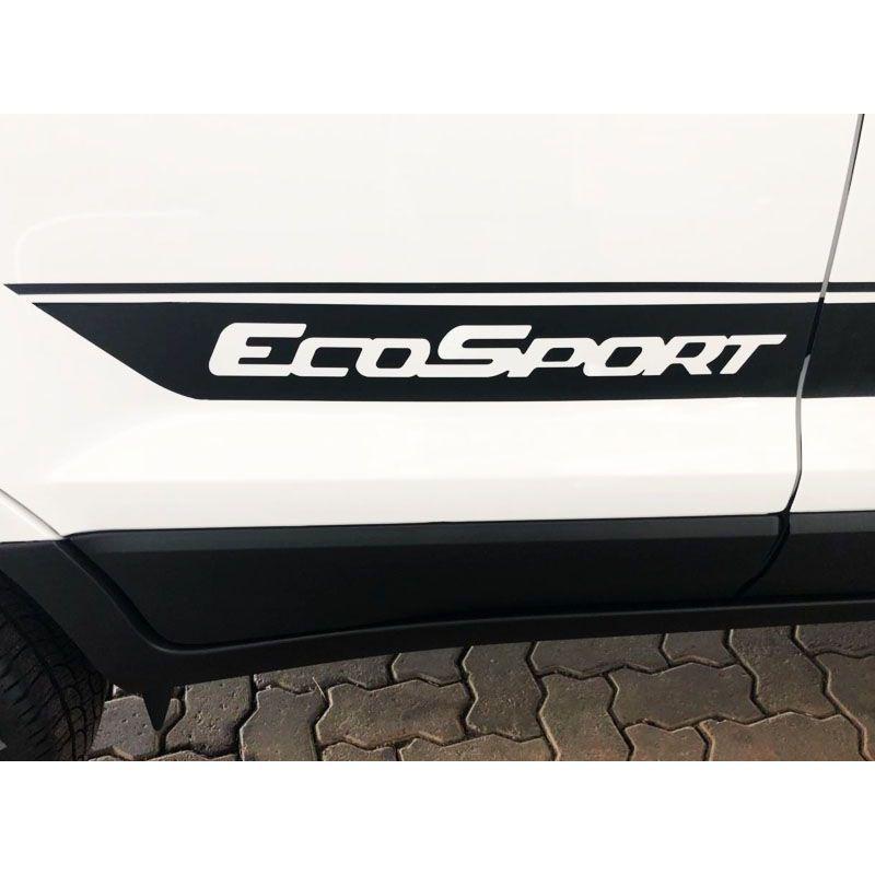 Kit Faixa Preto Lateral Capô Ecosport + Soleira Protetora