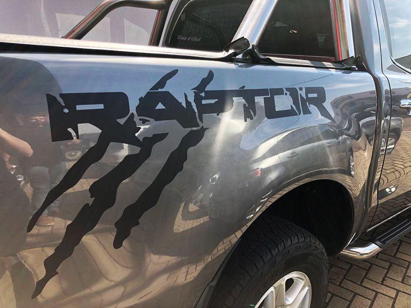 Kit Faixa Ranger Raptor Grafite + Soleira Da Porta 2013/2019