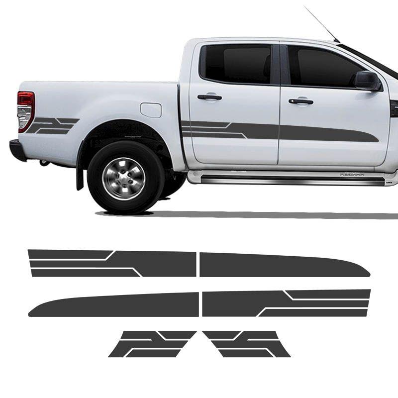 Kit Faixa Ranger Sport 2014/2019 Adesivo Grafite Cabine Dupla