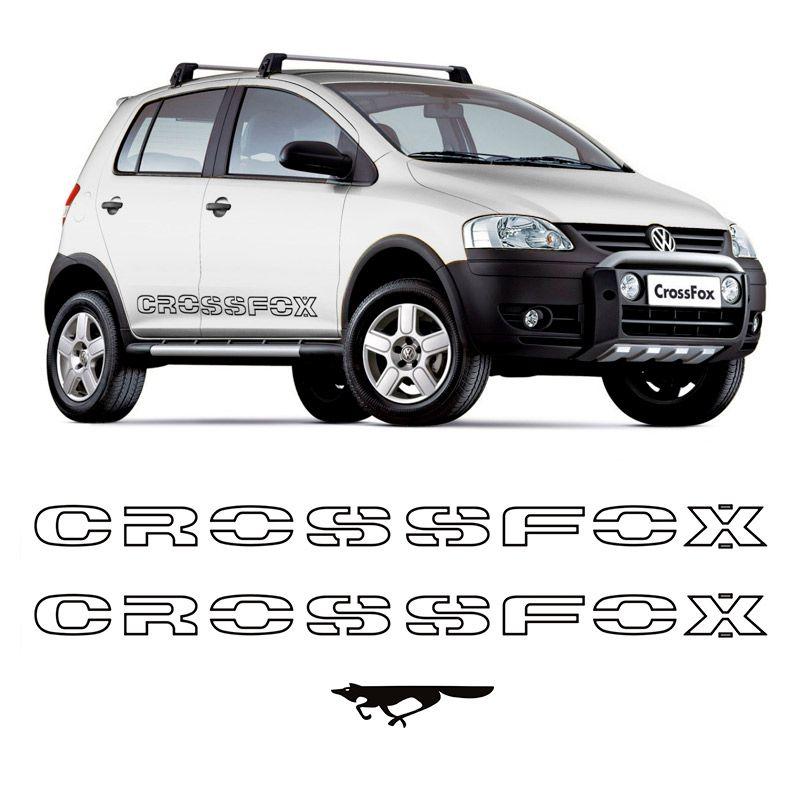 Kit Faixas Crossfox 2006/2007 Adesivo Lateral Preto Volkswagen