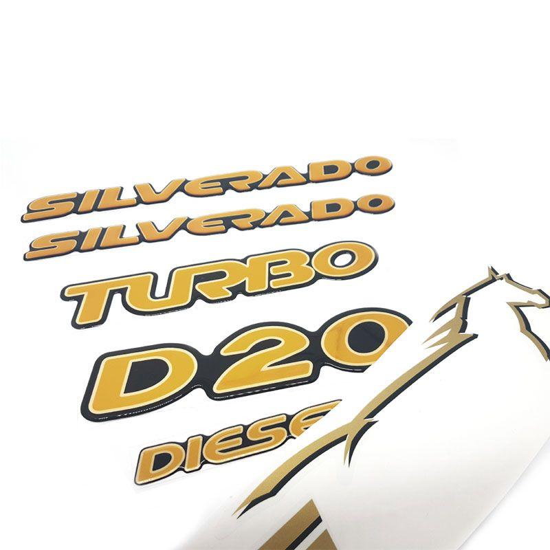 Kit Faixas + Emblemas Adesivos Silverado D20 Resinados 2000/