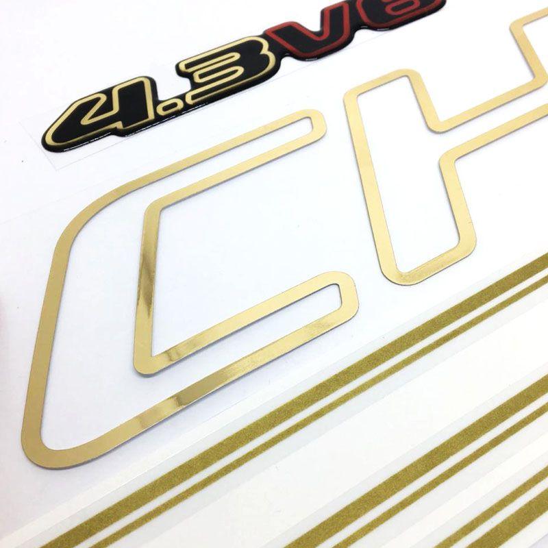 Kit Faixas S10 Executive 01/02 Cabine Dupla Adesivo Dourado