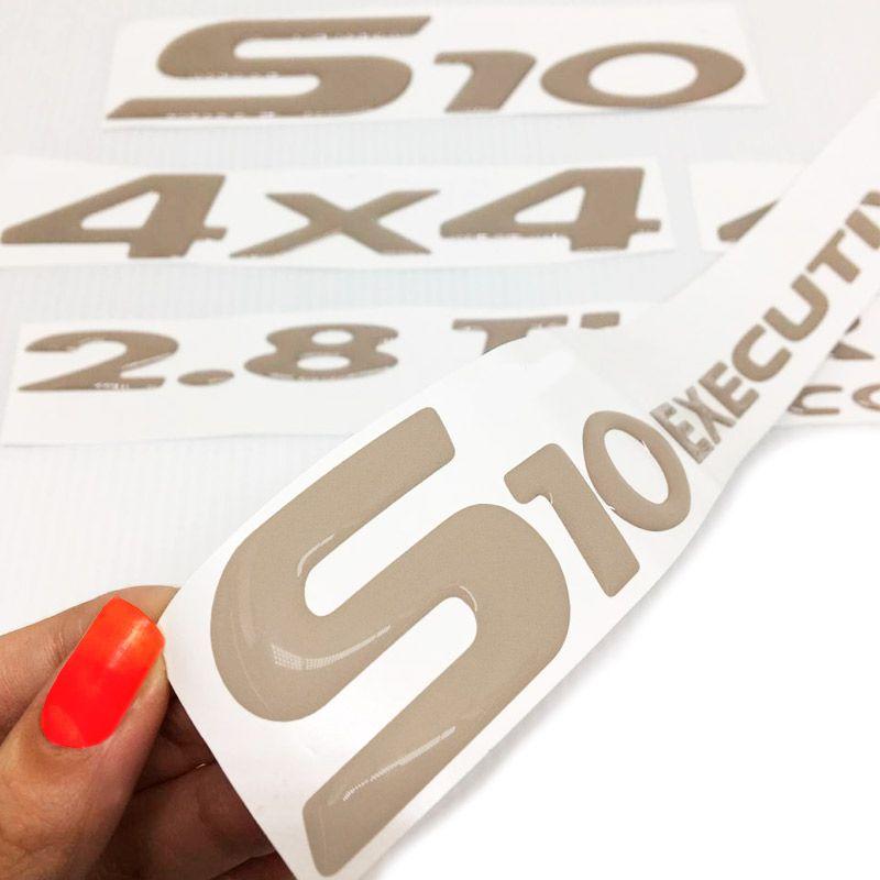Kit Faixas S10 Executive 2003, 2004, 2005 e 2006 4x4 Emblema Cabine Simples