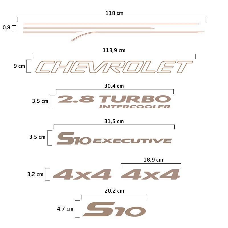 Kit Faixas S10 Executive 2003/2006 Emblemas 4x4 2.8 Turbo
