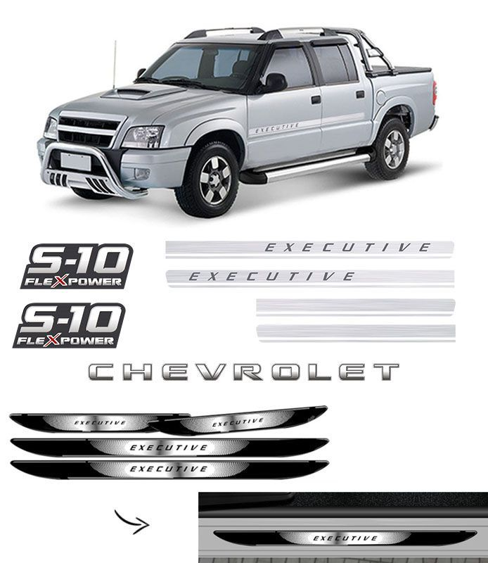 Kit Faixas S10 Executive + Flex Power Vermelho + Soleira