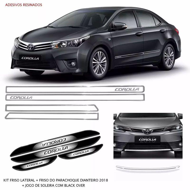 Kit Friso Lateral Dianteiro Corolla 2018 Soleira Black Over