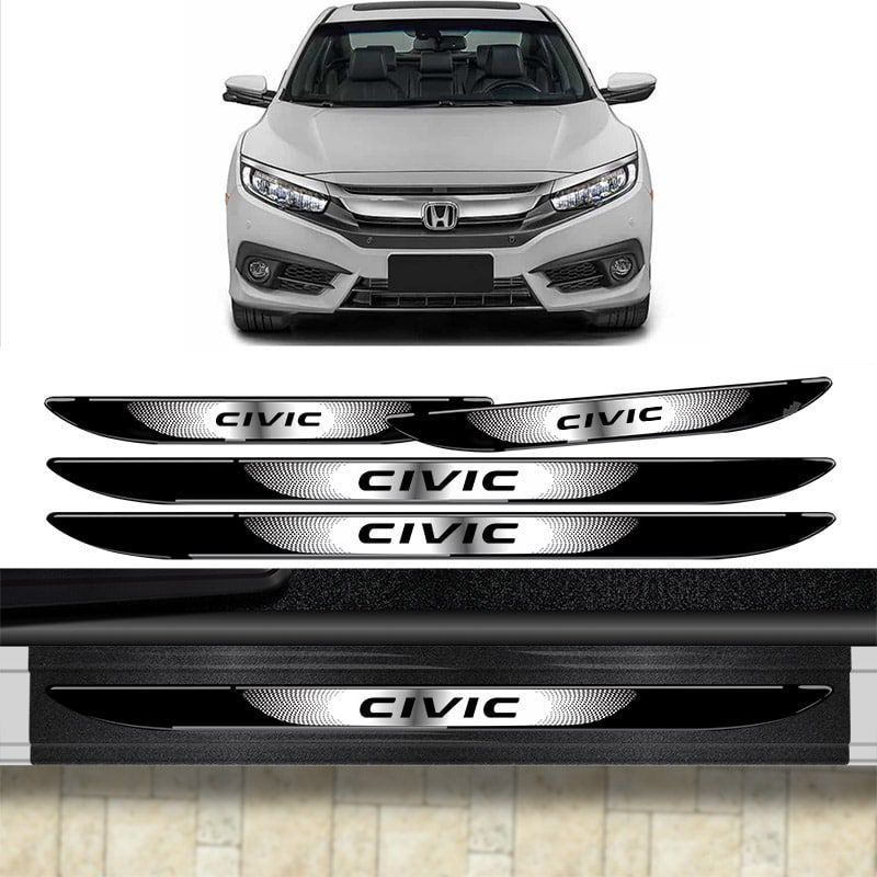 Kit Protetor Porta-Malas Civic 12/16 + Soleira C/ Black Over