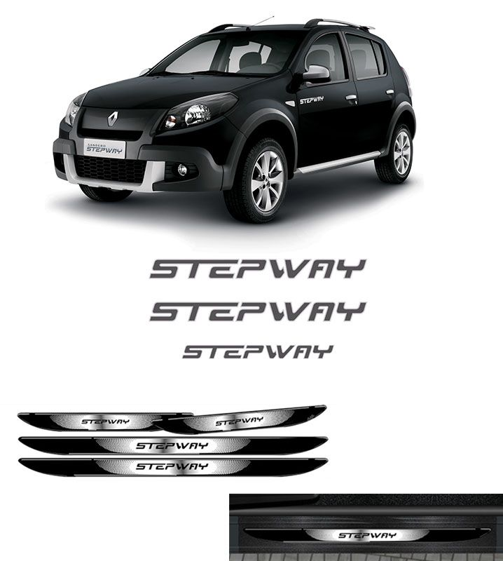 Kit Sandero Stepway Adesivos Grafite 12 + Soleira Black Over