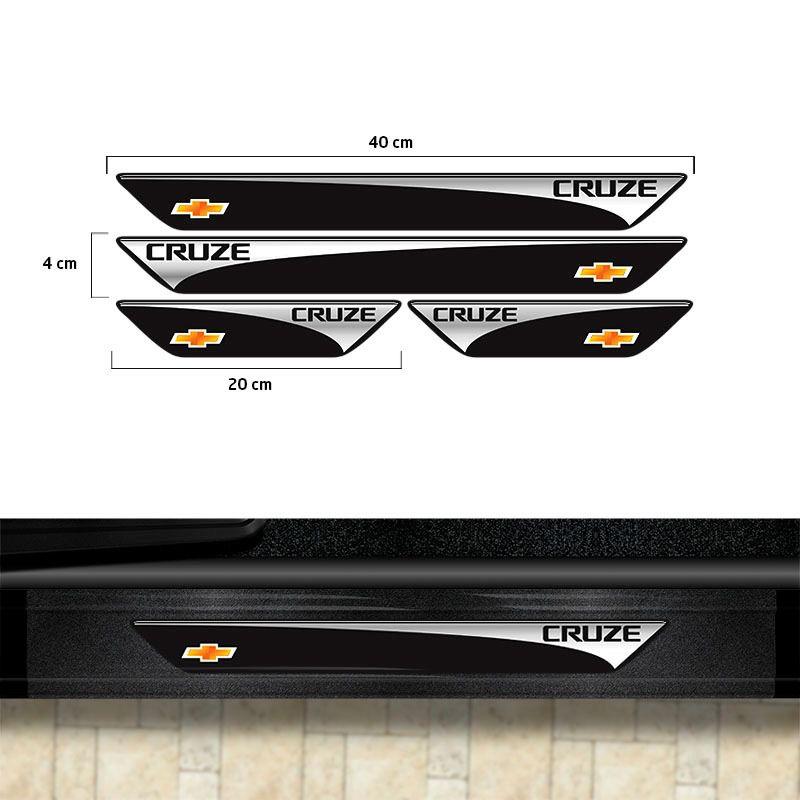 Kit Soleira Cruze Hatch/Sedan Com Adesivo Protetor de Porta