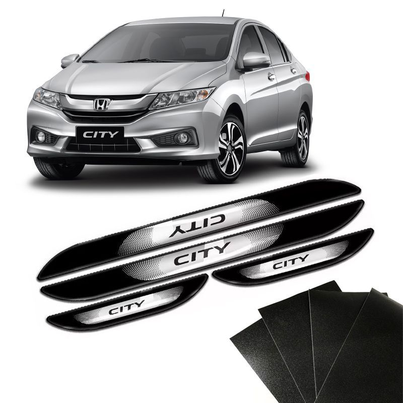 Kit Soleira Da Porta Honda City 2015 a 2019 Com Black Over Resinado