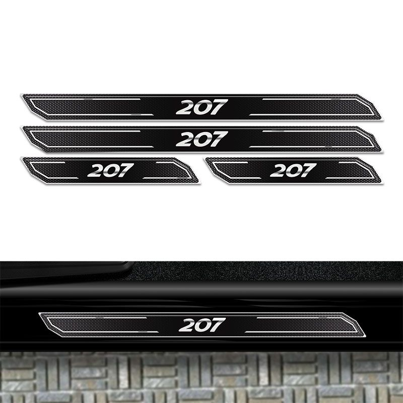 Kit Soleira Da Porta Diamante Peugeot 207 Adesivo Resinado