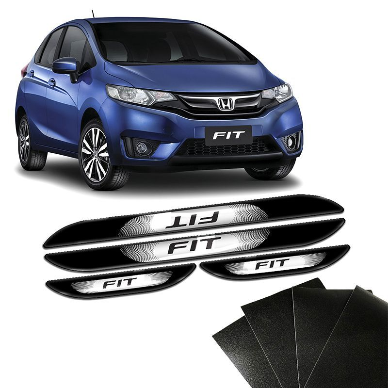 Kit Soleira Da Porta Honda Fit 2015 a 2018 Com Black Over Resinado