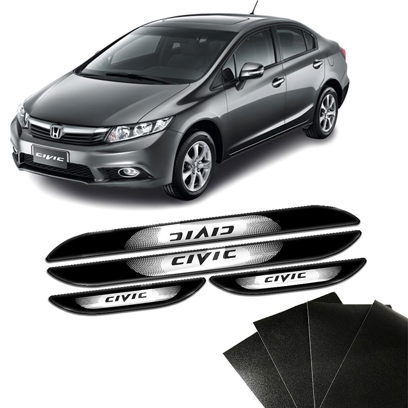 Kit Soleira Da Porta New Civic 2006 a 2012 Com Black Over