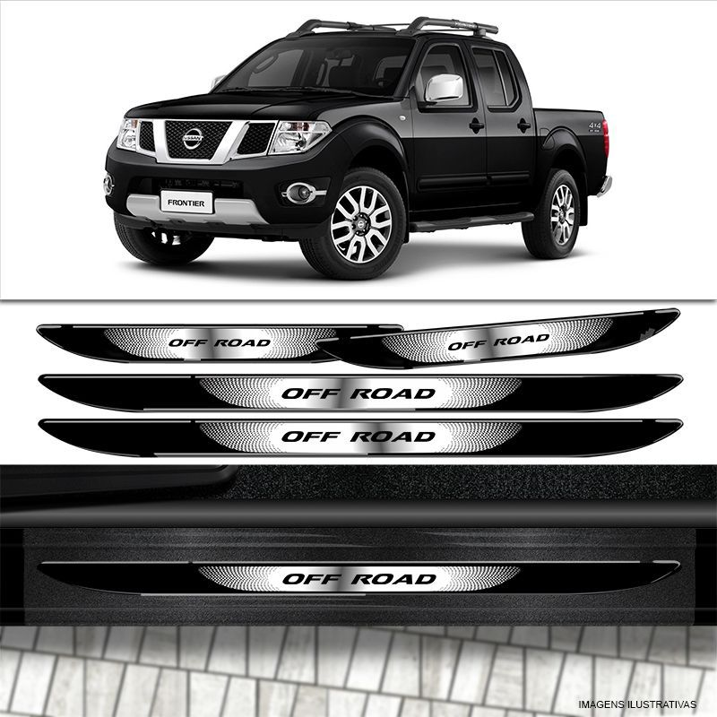Kit Soleira Da Porta Nissan Frontier Off Road Com Black Over
