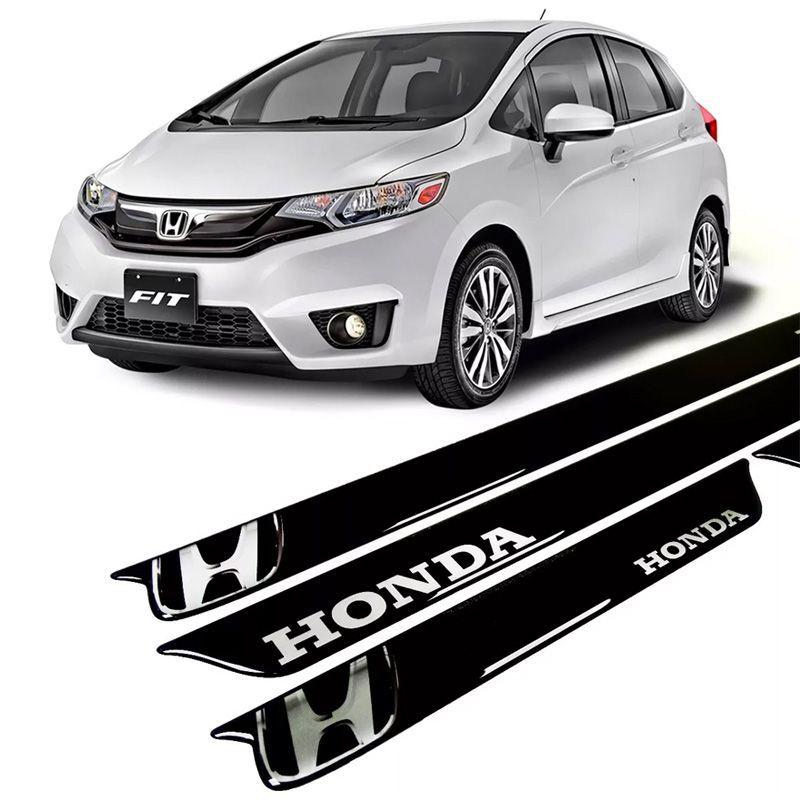 Kit Soleira Da Porta Resinada Honda Fit Preta