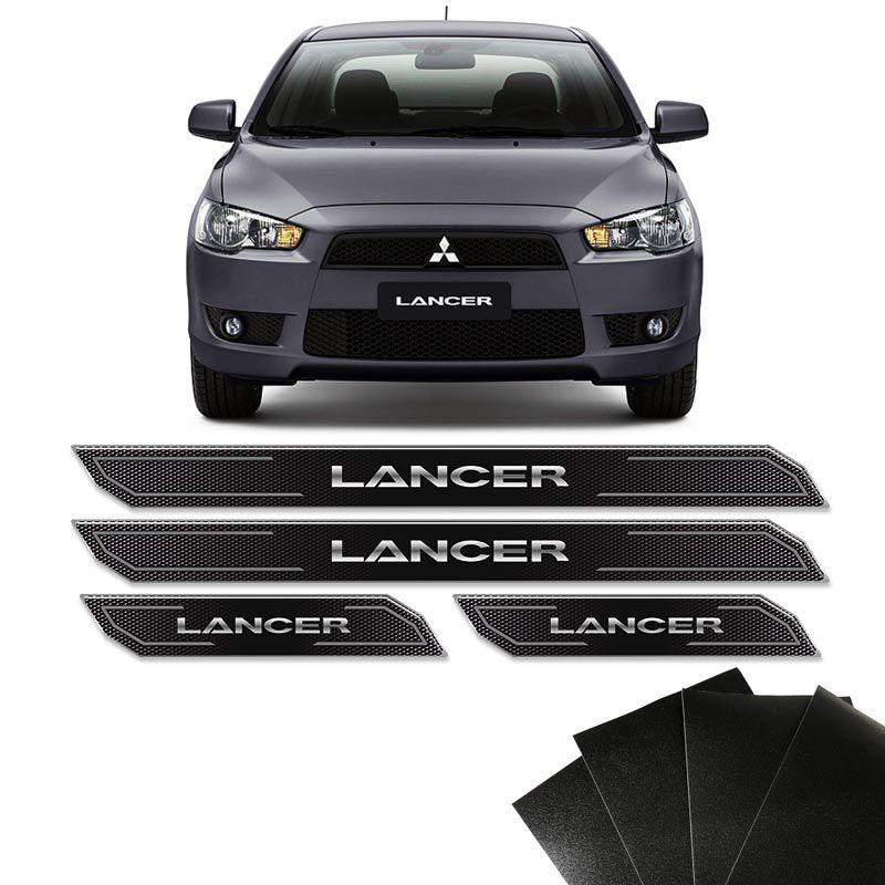 Kit Soleira Diamante Lancer 2012/2019 Com Protetor De Porta Black Over