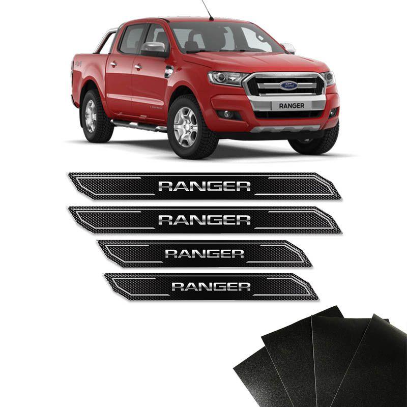 Kit Soleira Diamante Ranger 2012 A 2019 E Protetor de Porta Black Over