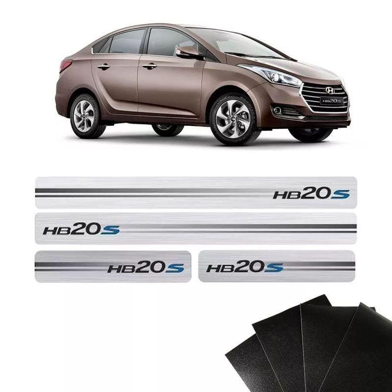 Kit Soleira Escovada Hb20s Sedan 2014/19 E Protetor de Porta
