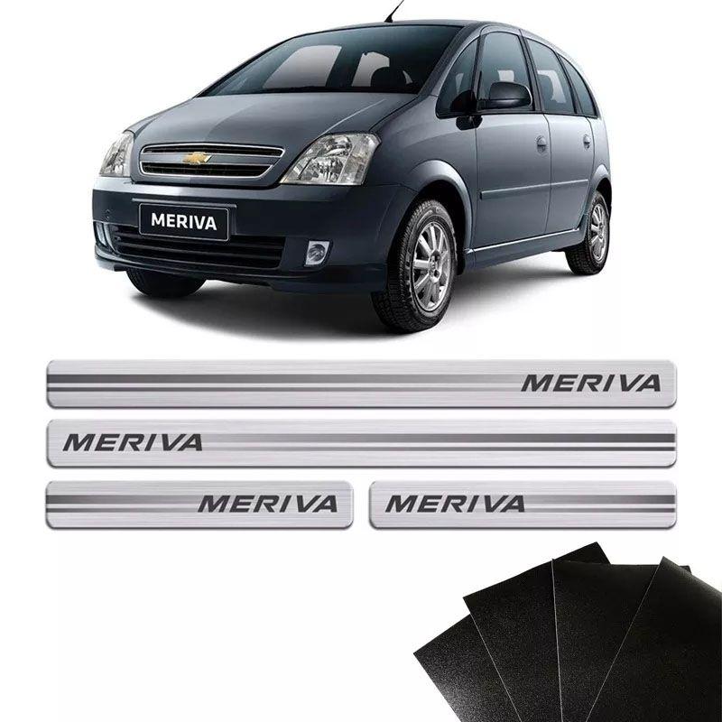 Kit Soleira Escovada Meriva 2003/2012 Com Protetor De Porta