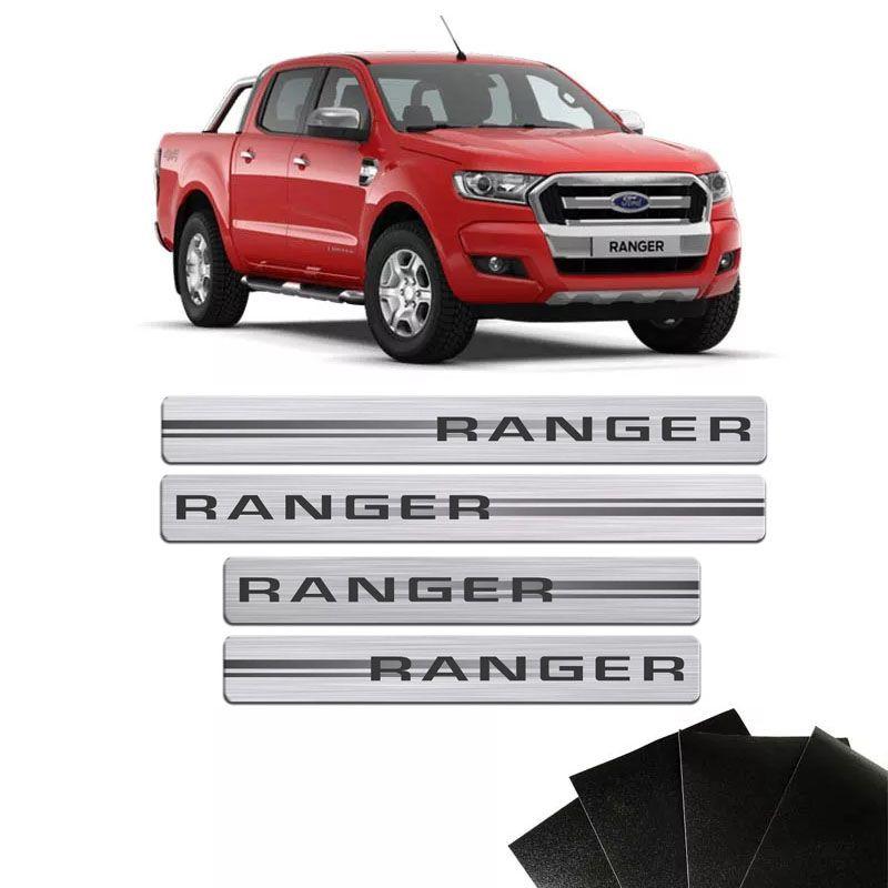 Kit Soleira Escovada Ranger 2012 A 2019 E Protetor de Porta